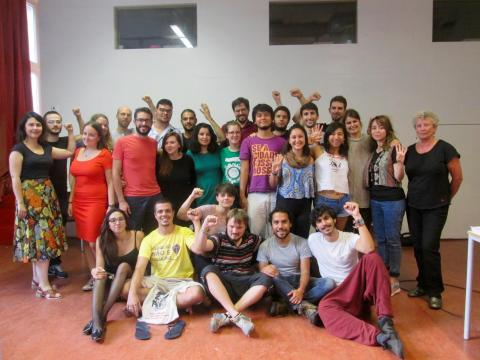 Participants and interpreters together with Penny Duggan, the final lecturer of the school